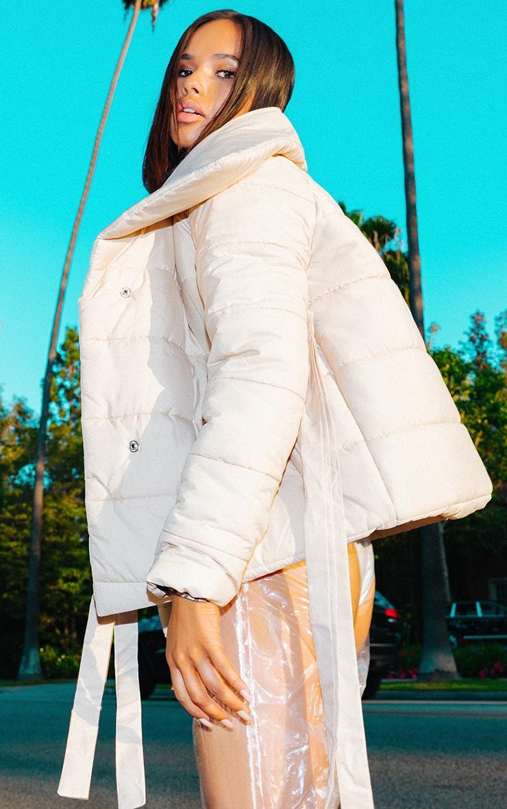Stone Wrap Tie Puffer Jacket