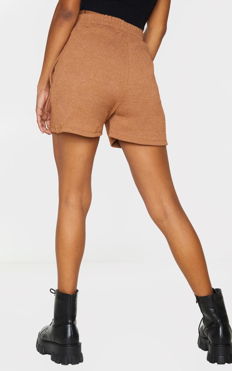 PRETTYLITTLETHING Camel Ribbed Lounge Shorts 3