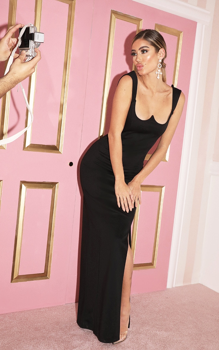 Black Structured Bodice Maxi Dress 4