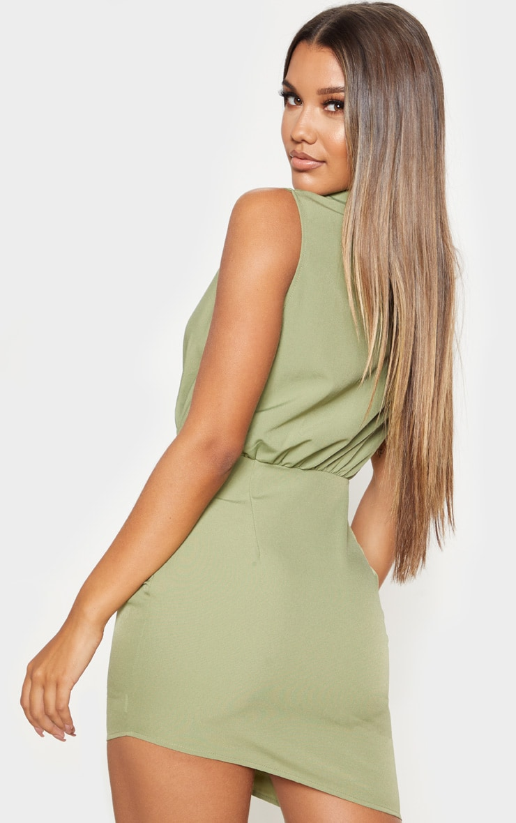 Olive Khaki Sleeveless Ruched Drape Shirt Dress 2