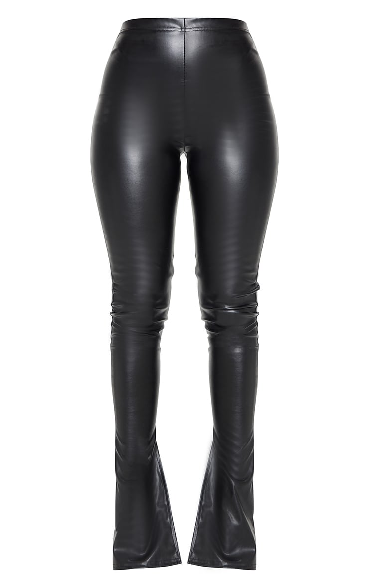 Black Kick Flare Faux Leather Leggings 5
