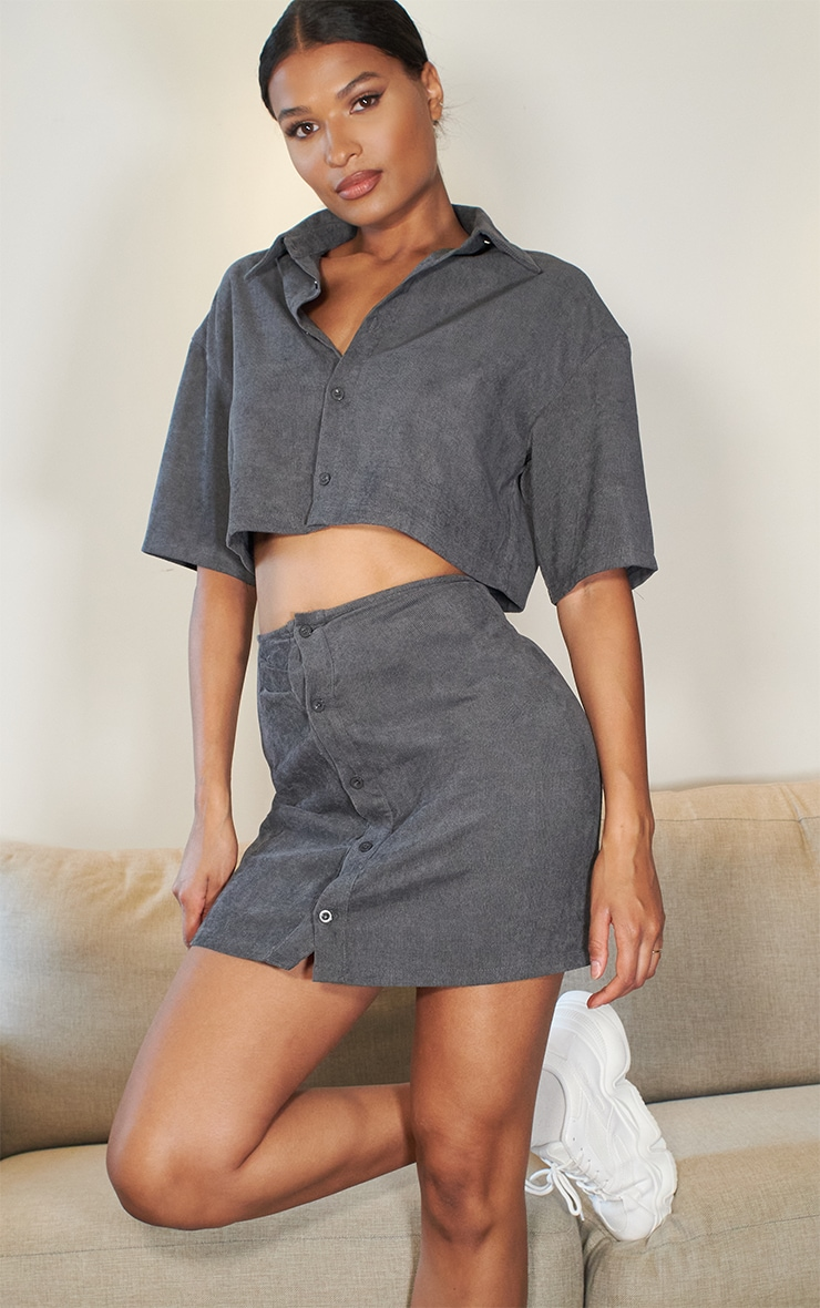 Charcoal Grey Cord Oversized Button Cropped Shirt 2