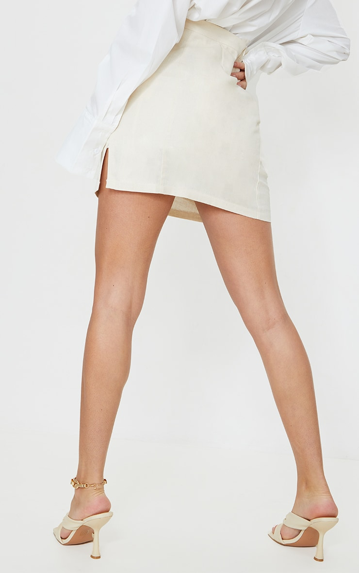 Stone Linen Look Split Hem Mini Skirt 3