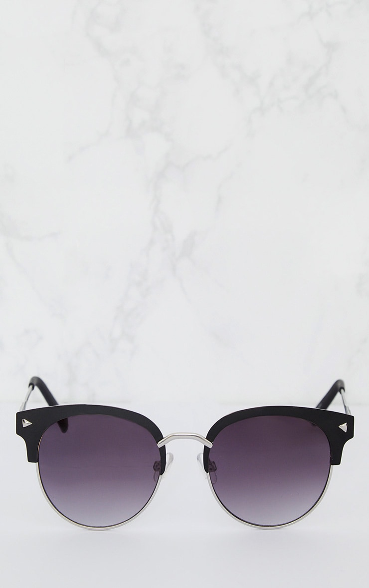 Black Frame Rounded Aviator Sunglasses 2