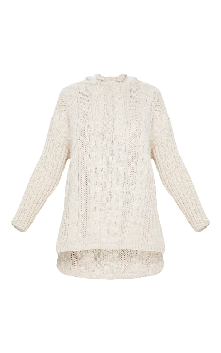 Stone Cable Knit Longline Hoodie 5