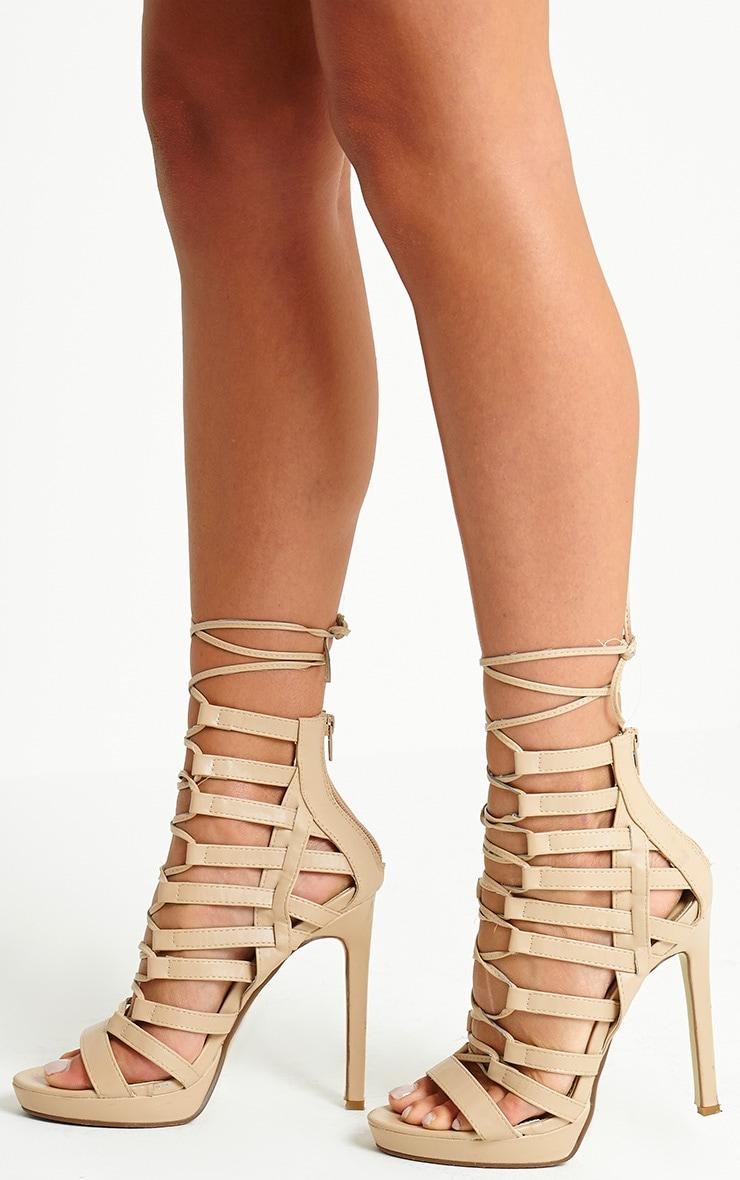 Adria Nude PU Strappy Platform Heels 3