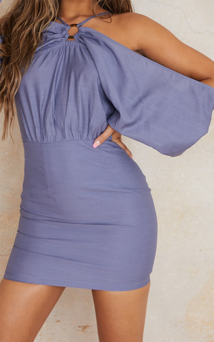 Blue Linen Look Batwing Sleeve Strappy Detail Bodycon Dress 4