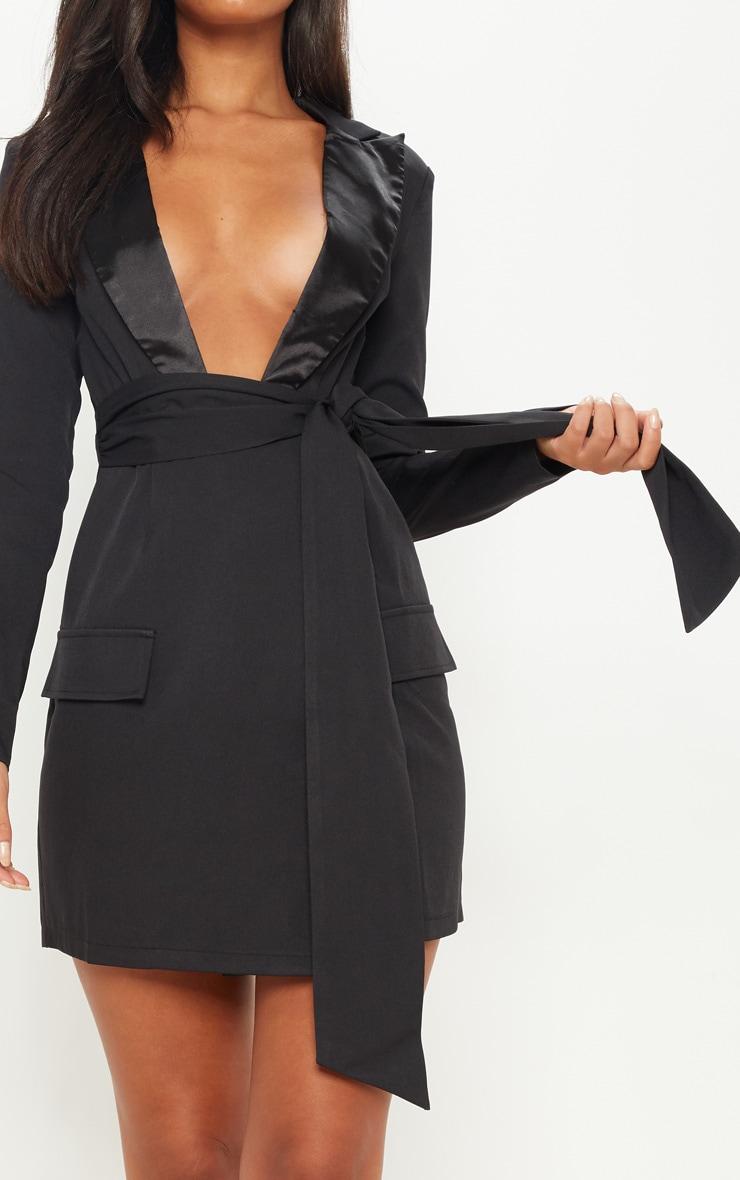 Black Satin Lapel Tie Waist Pocket Detail Blazer Dress 5