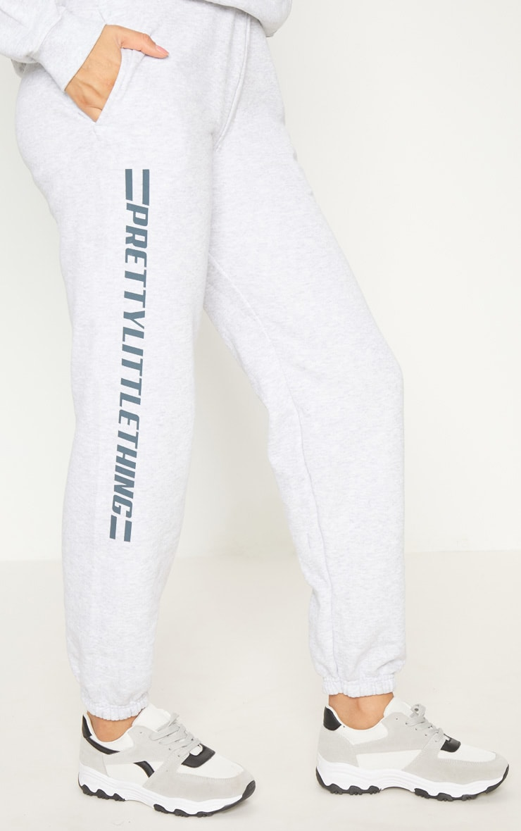 PRETTYLITTLETHING Grey Logo Stripe Track Pants 4