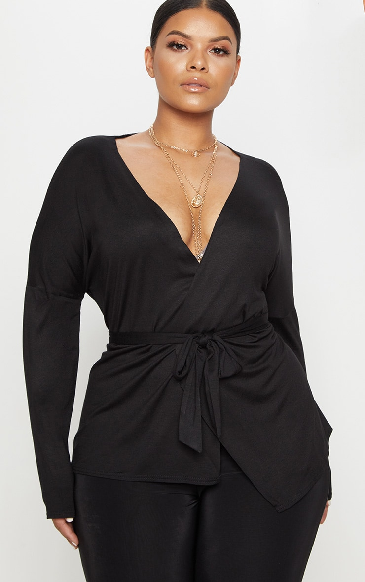 Plus Black Jersey Tie Waist Blouse 1