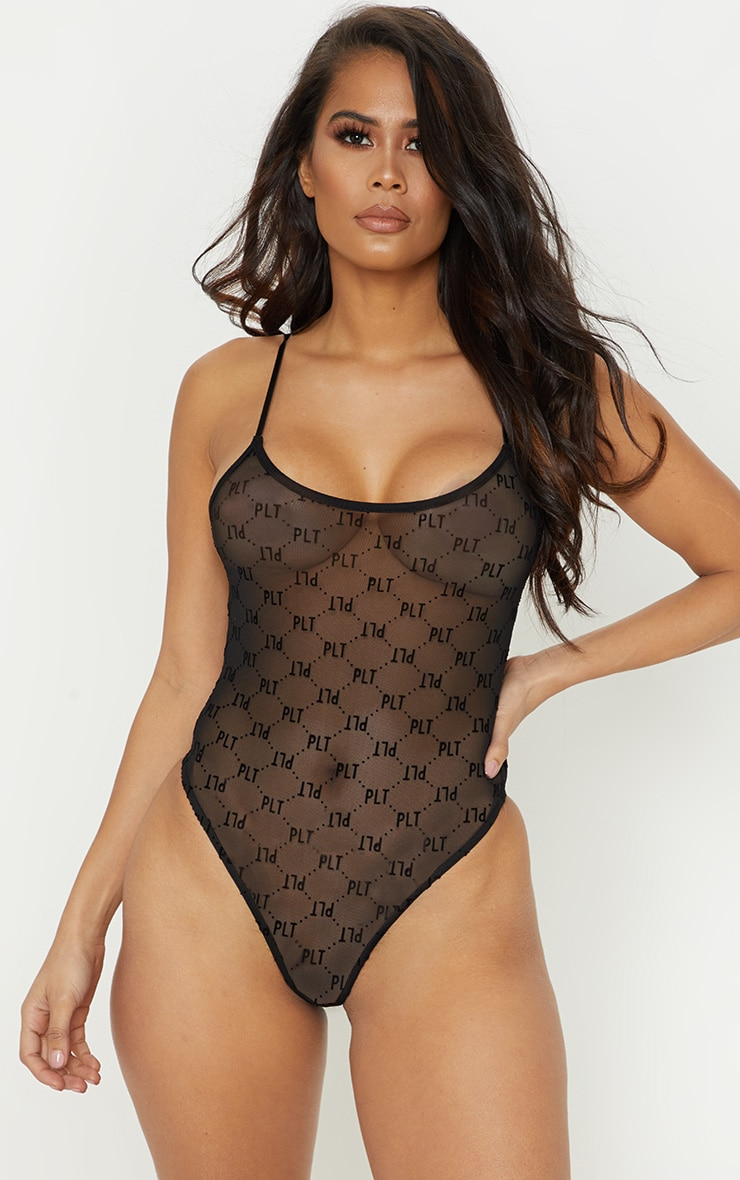 PRETTYLITTLETHING Black Mesh Flock High Leg Body 1