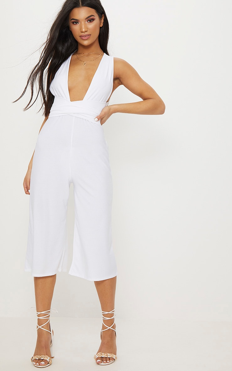 28aa4774cd1 White Crepe Multiway Culotte Jumpsuit image 1