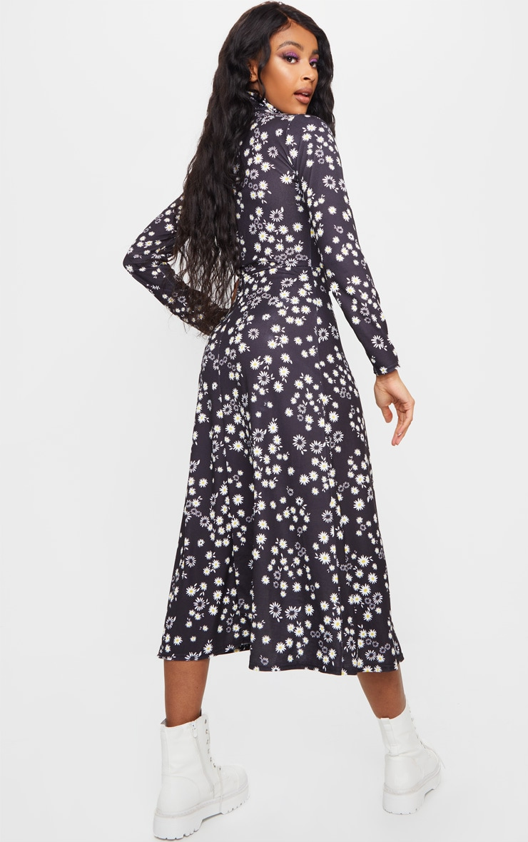 Black Floral Print Long Sleeve Midi Dress 2