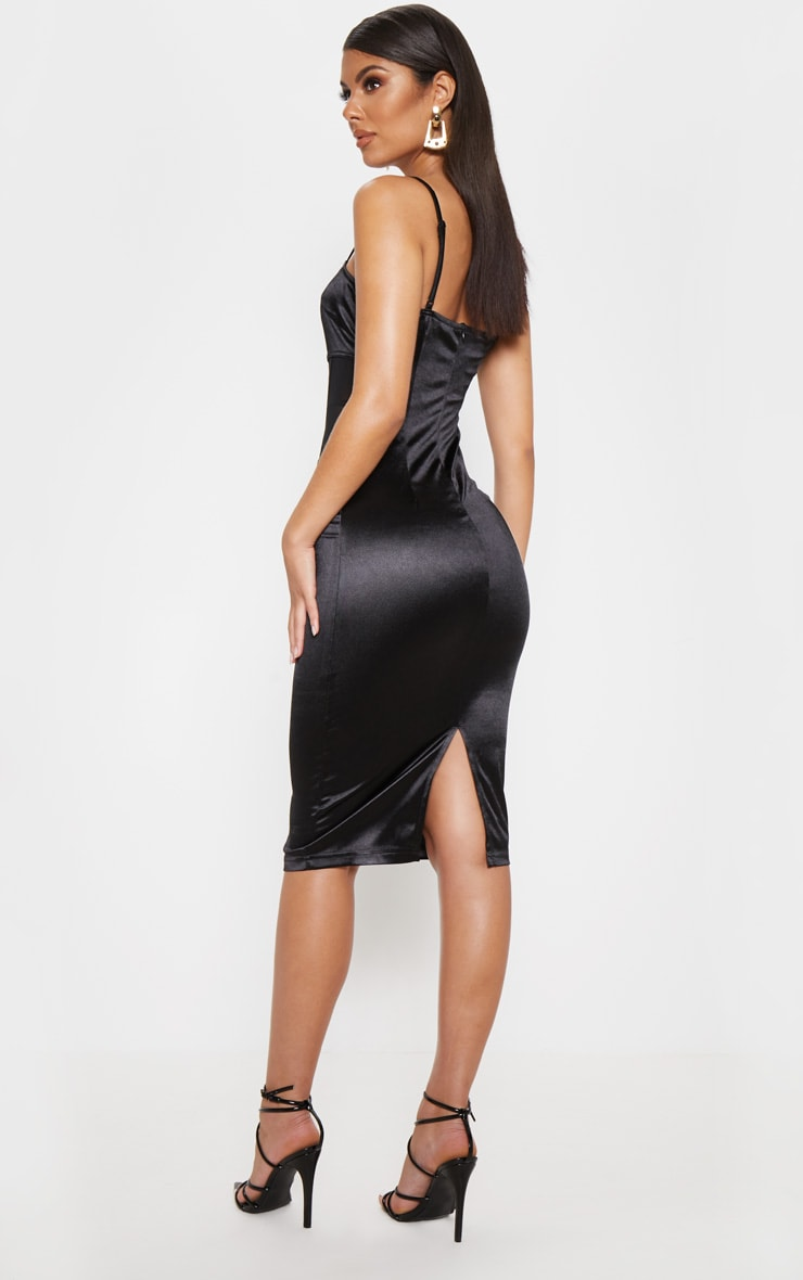Black Satin Mesh Panel Midi Dress 2