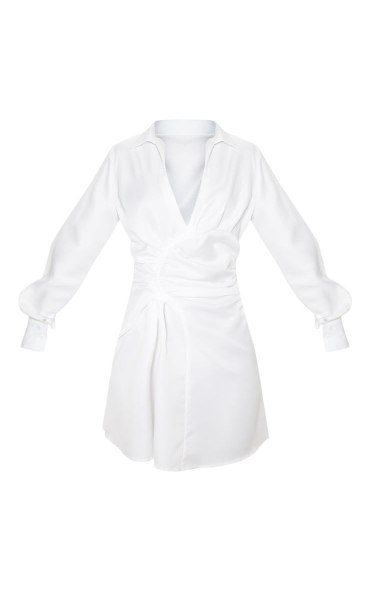 White Ruched Waist Detail Shirt Dress 3