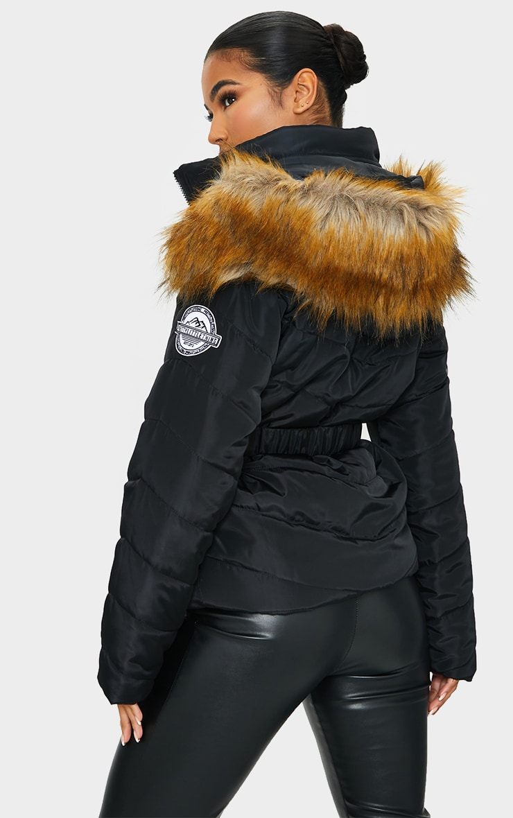 PRETTYLITTLETHING Black Belted Faux Fur Hooded Quilted Parka Coat 2