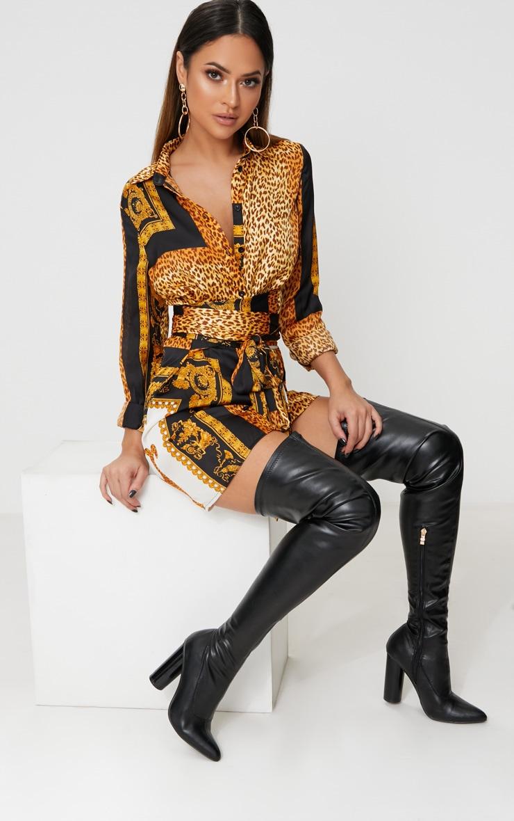 Black Leopard Tie Waist Shirt Dress 4