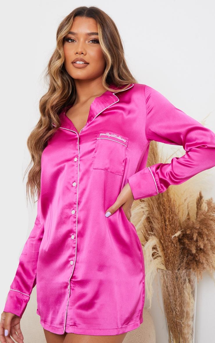 PRETTYLITTLETHING Pink Embroidered Satin Nightshirt 1