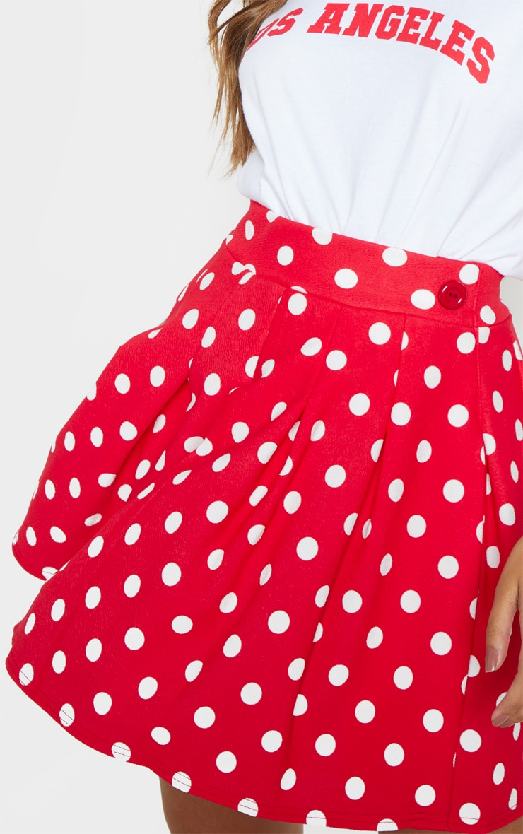 Red Polka Dot Pleated Side Split Tennis Skirt 6