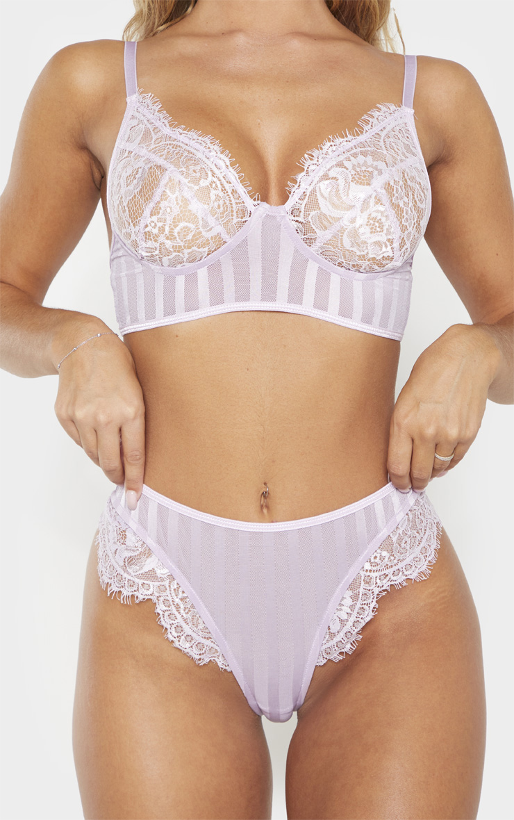 Lilac Striped Lace High Leg Thong 6