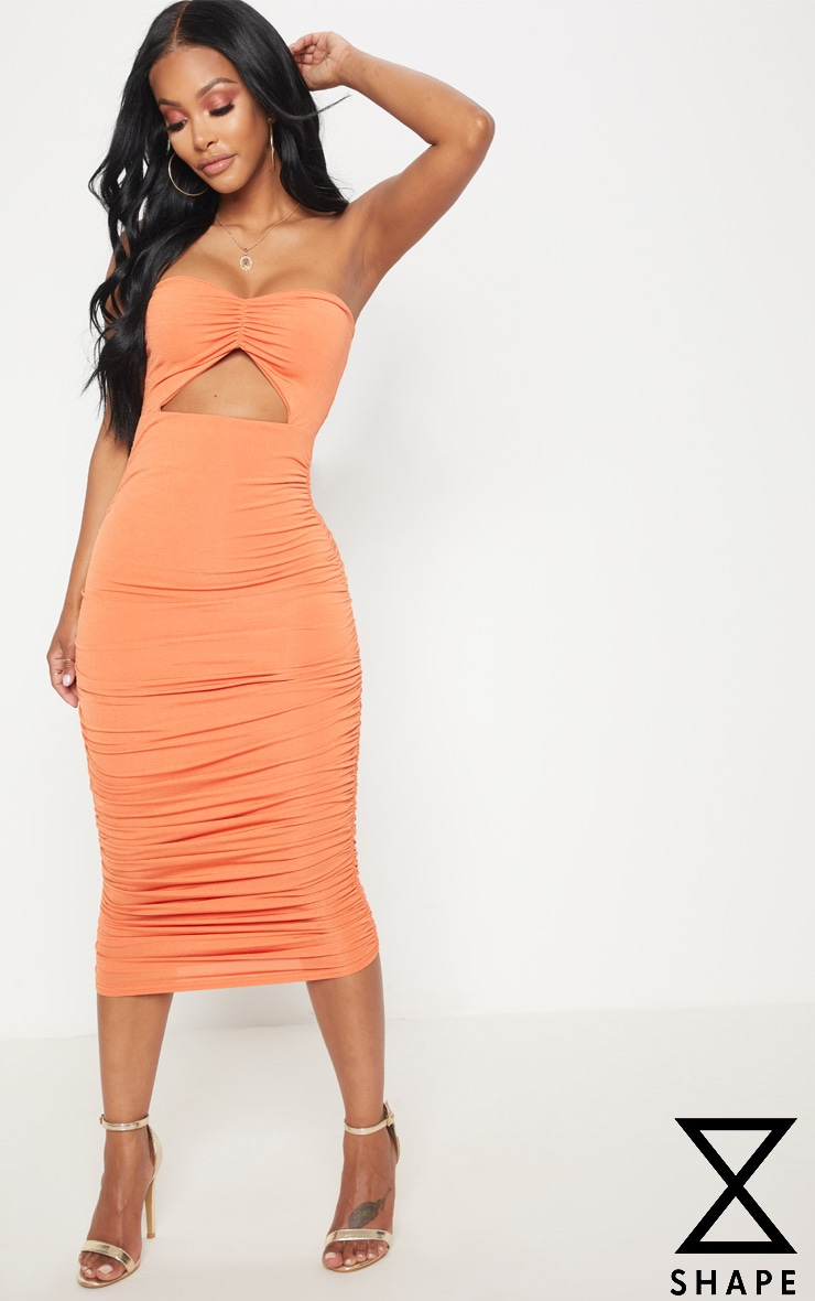 Shape Tangerine Slinky Cut Out Ruched Bandeau Midi Dress