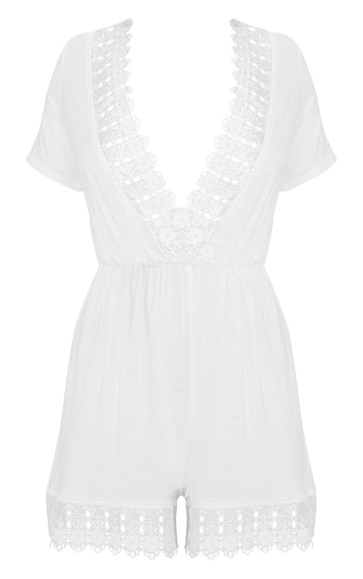 White Crochet Trim Short Sleeve Playsuit 3