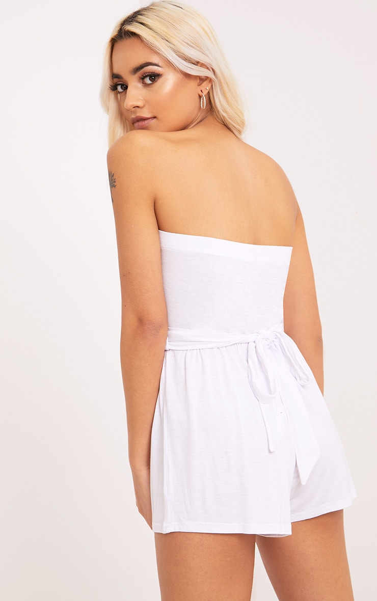 Ieshah White Jersey Bandeau Playsuit  2