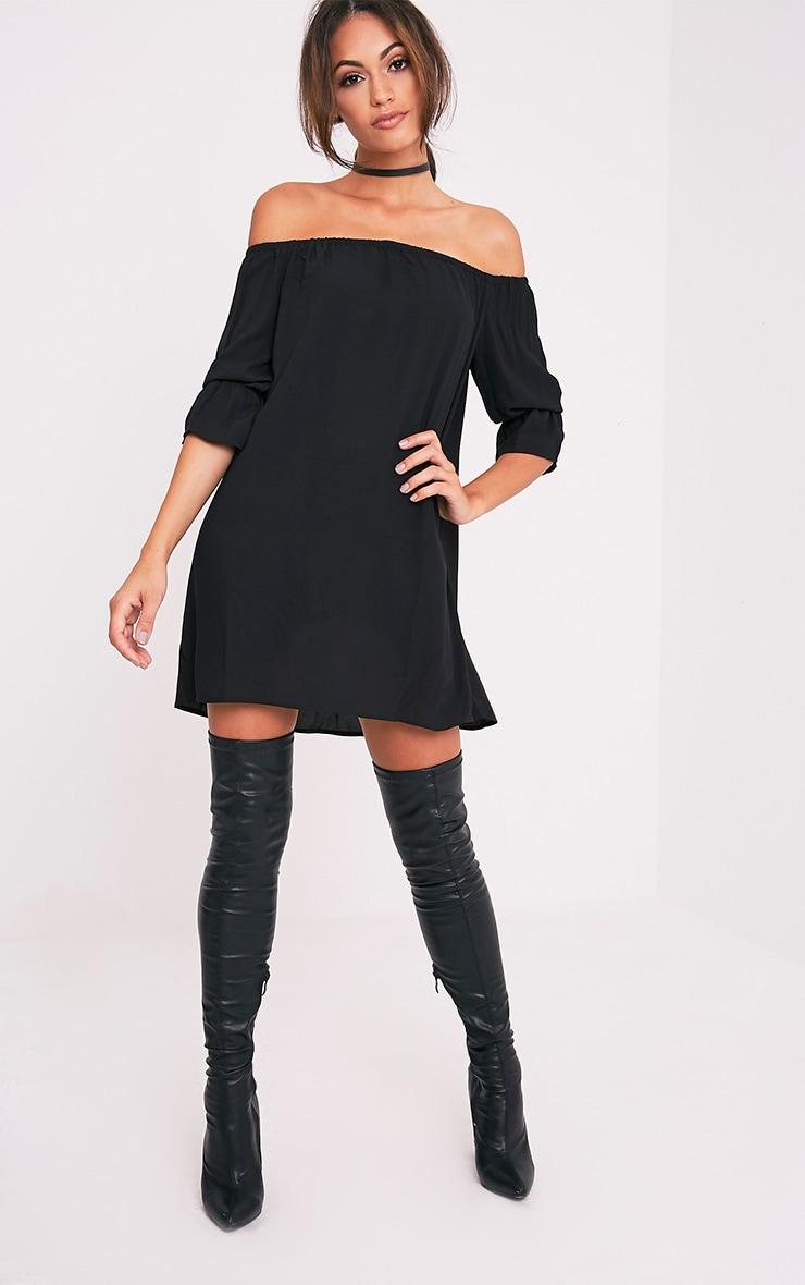 Shanaya Black Long Frill Sleeve Bardot Shift Dress 5