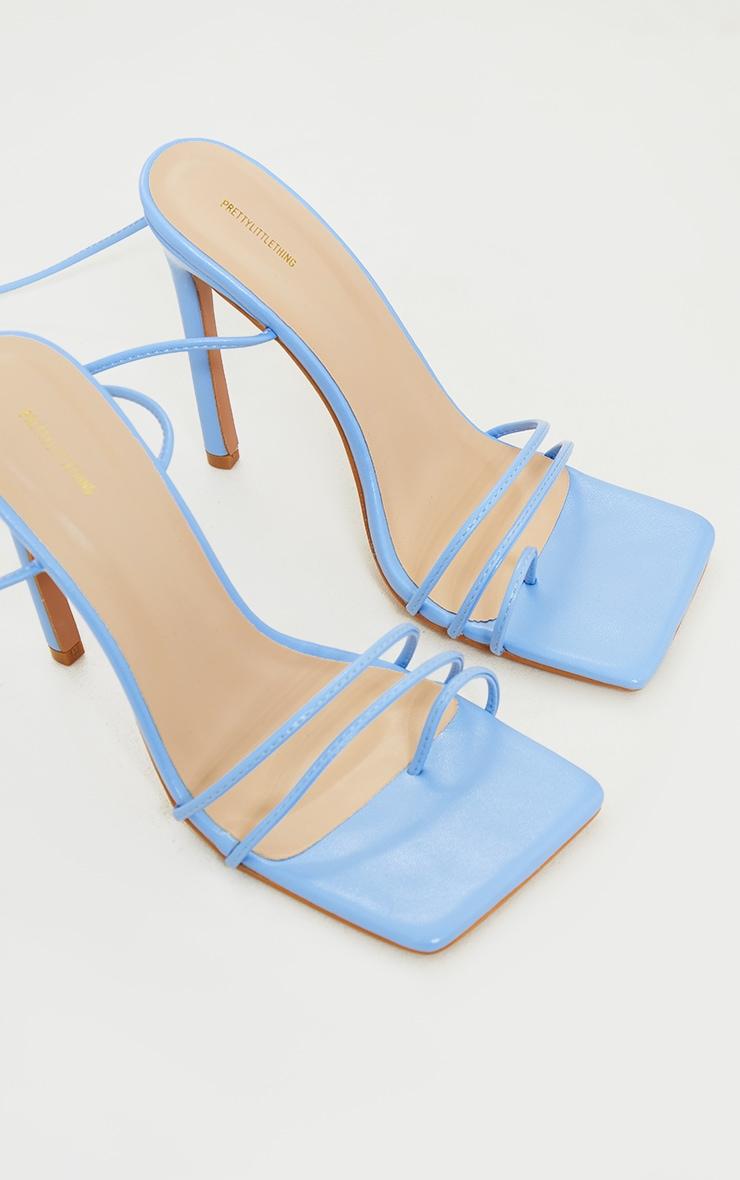 Blue PU Square Toe Lace Up Toe Loop Heels 4