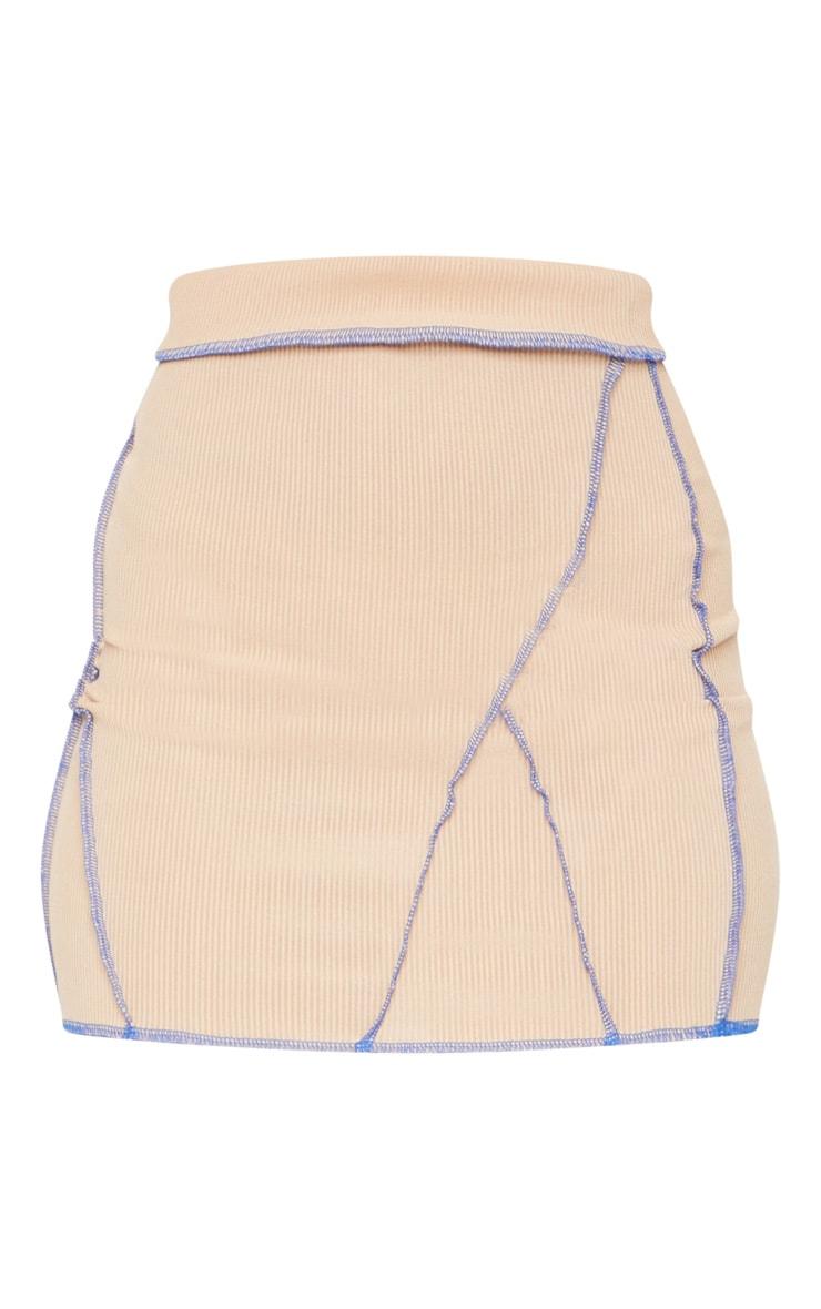 Camel Rib Contrast Seam Detail Mini Skirt 6