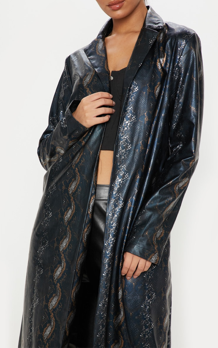 Black Snake Print PU Trench 5