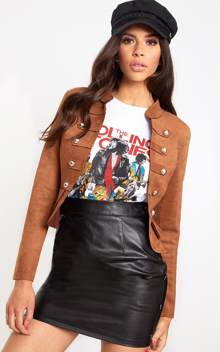 Tan Faux Suede Military Jacket 1