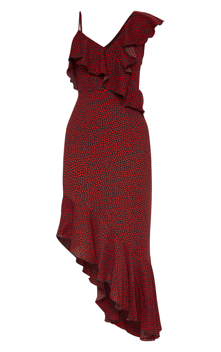 Burgundy Polka Dot One Shoulder Asymmetric Hem Maxi Dress 3