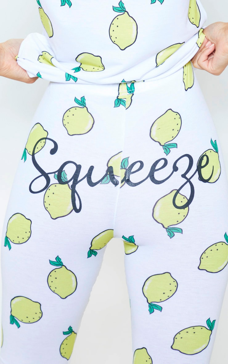 White Lemon Squeeze Legging Pyjama Set 5