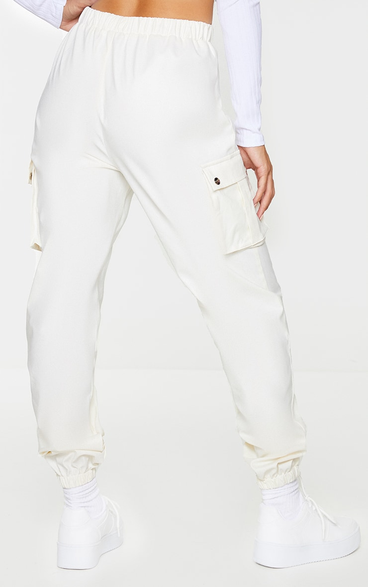 Cream Faux Leather Cargo Pants 3