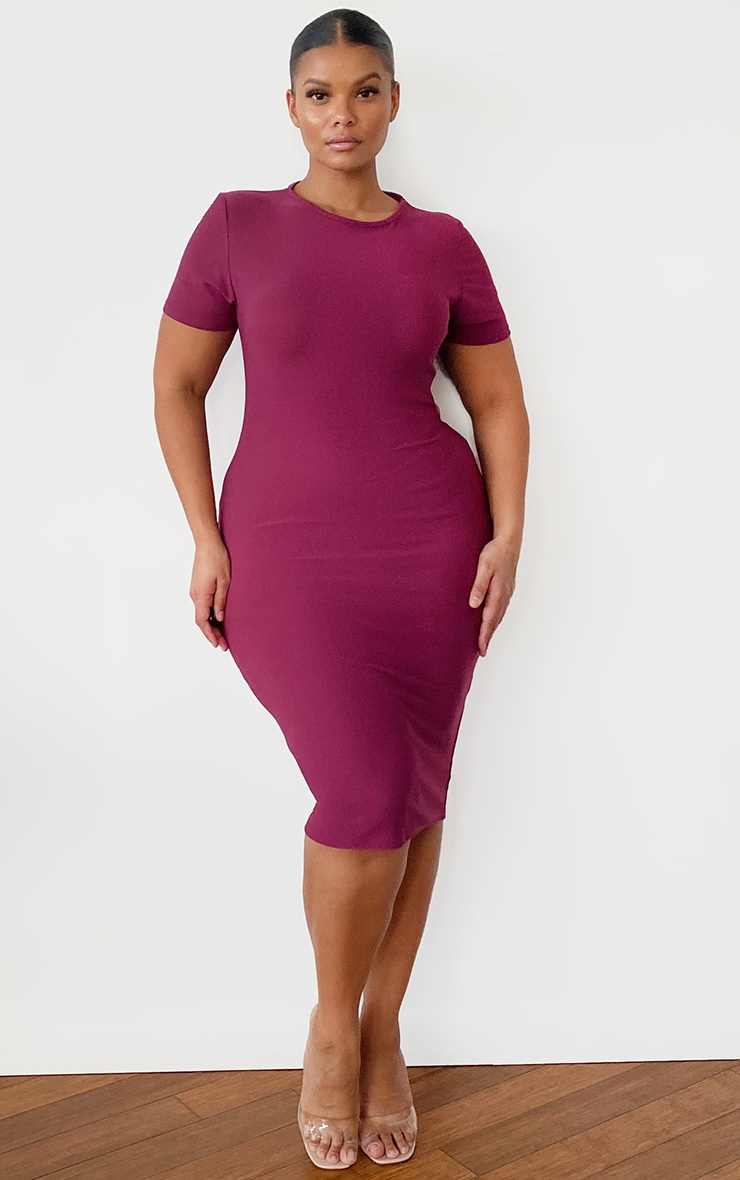 Plus Burgundy Cap Sleeve Midi Dress 1
