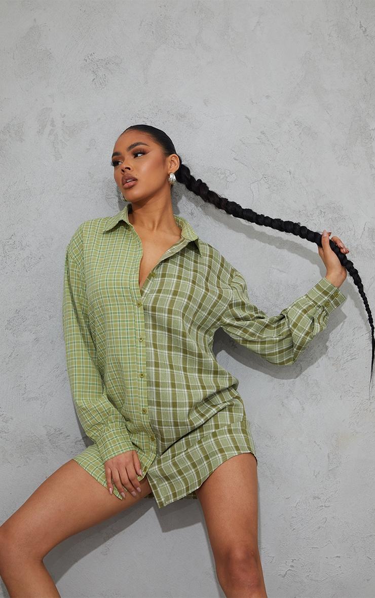 Sage Green Contrast Check Panel Oversized Shirt Dress 3