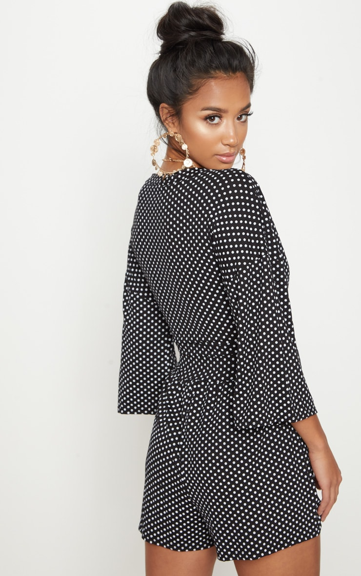 Petite Black Polka Dot Tie Front Top 2