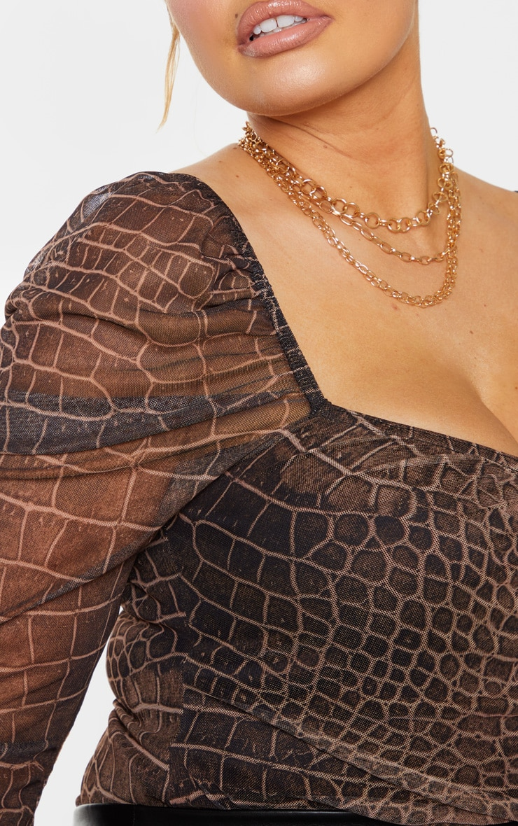 Plus Brown Croc Print Mesh Ruched Front Puff Sleeve Bodysuit 4