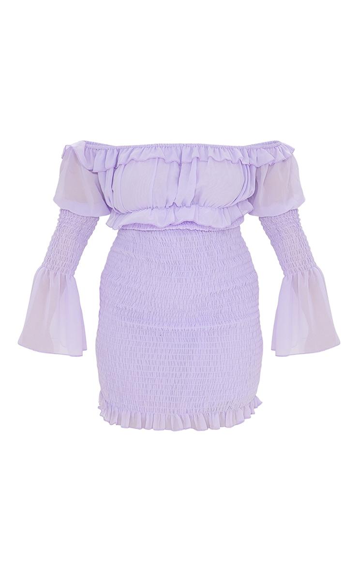 Plus Lilac Chiffon Shirred Bodycon Dress 5