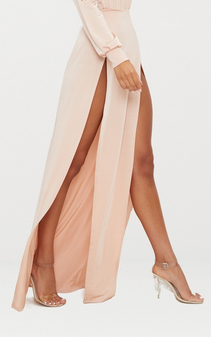 Nude High Neck Double Extreme Split Maxi Dress 5