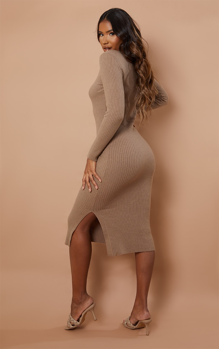Recycled Mocha Ribbed Knitted Bodycon Midi Dress 2