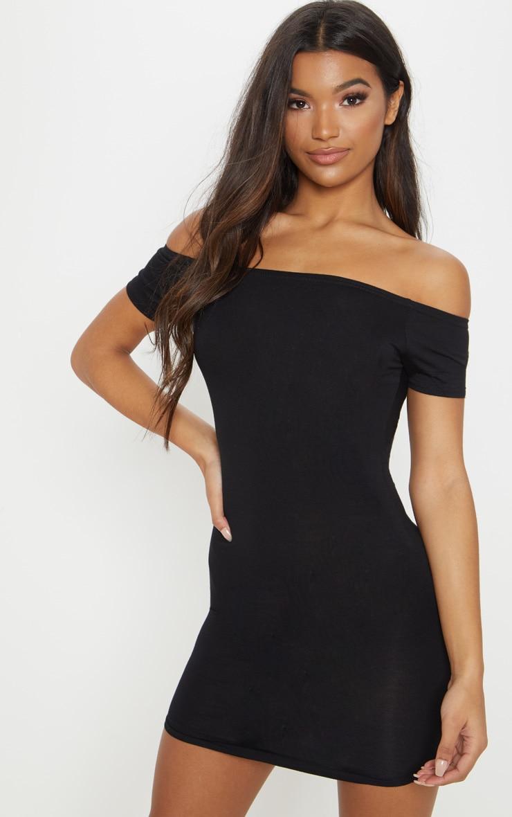 Basic Black Curve Hem Bardot Bodycon Dress 1