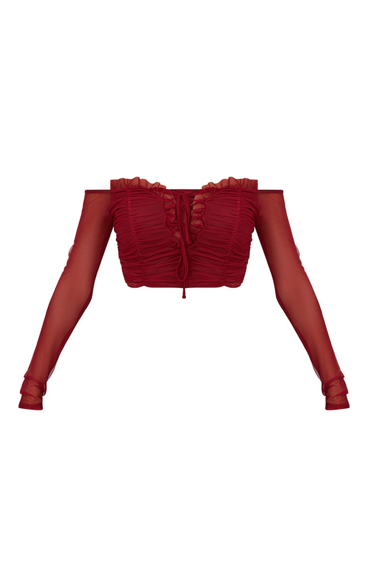 Burgundy Mesh Ruched Front Long sleeve Crop Top  3
