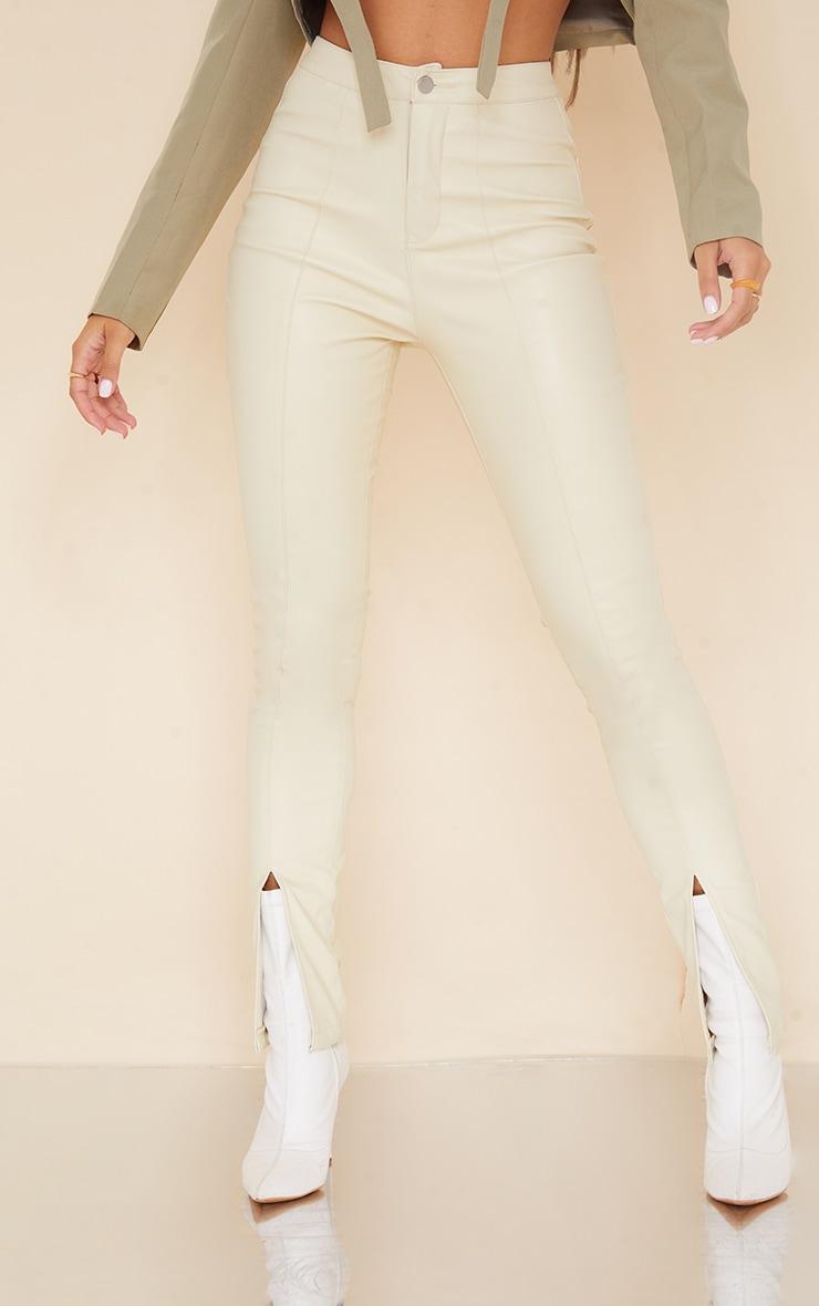 Cream Split Hem Faux Leather Skinny Pants 2