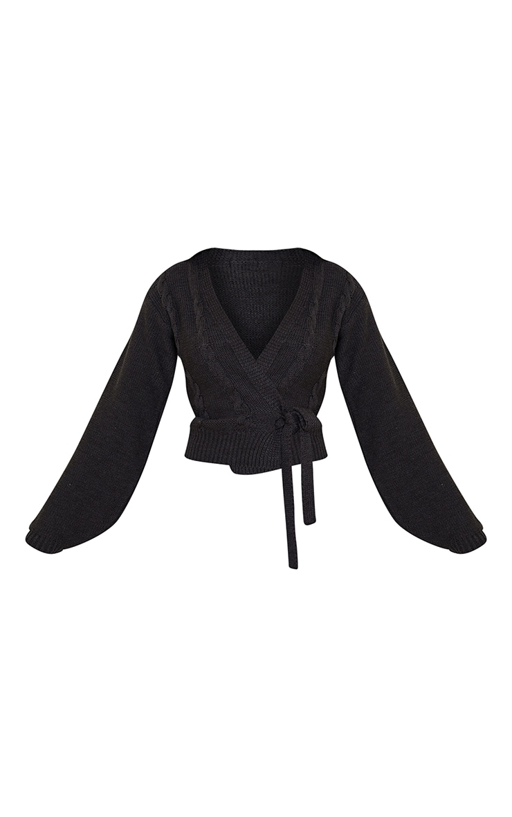 Charcoal Cable Tie Wrap Front Knitted Cardigan 5