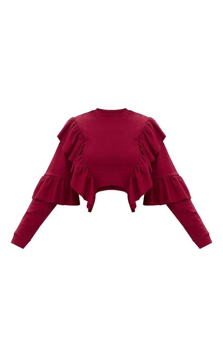 Burgundy Ruffle Frill Crop Sweater 3