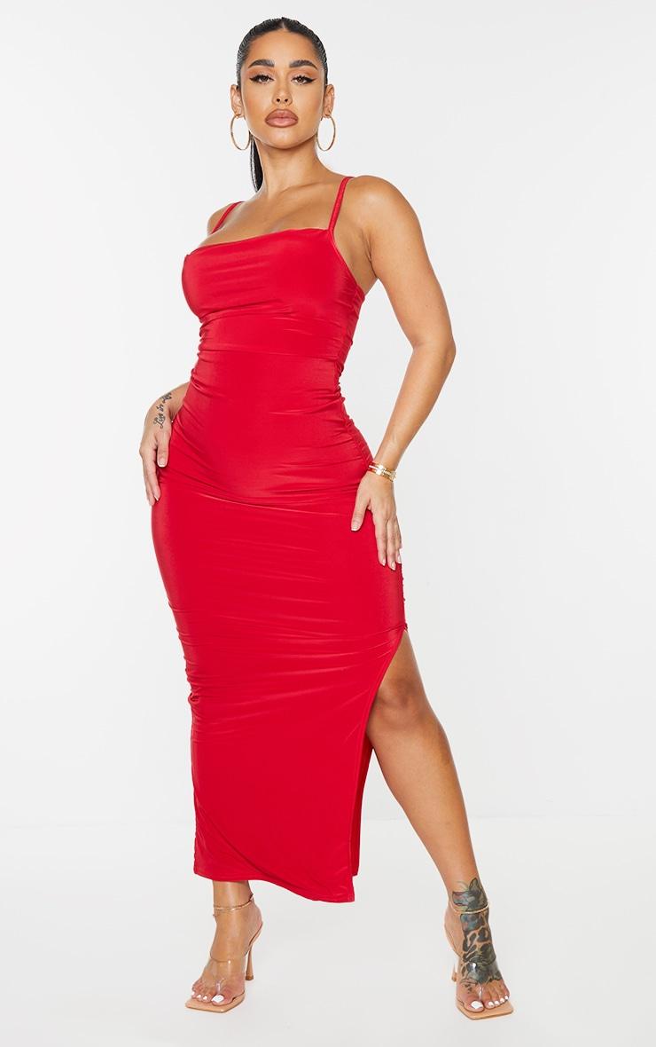 Shape Red Slinky Cowl Neck Midaxi Dress 1