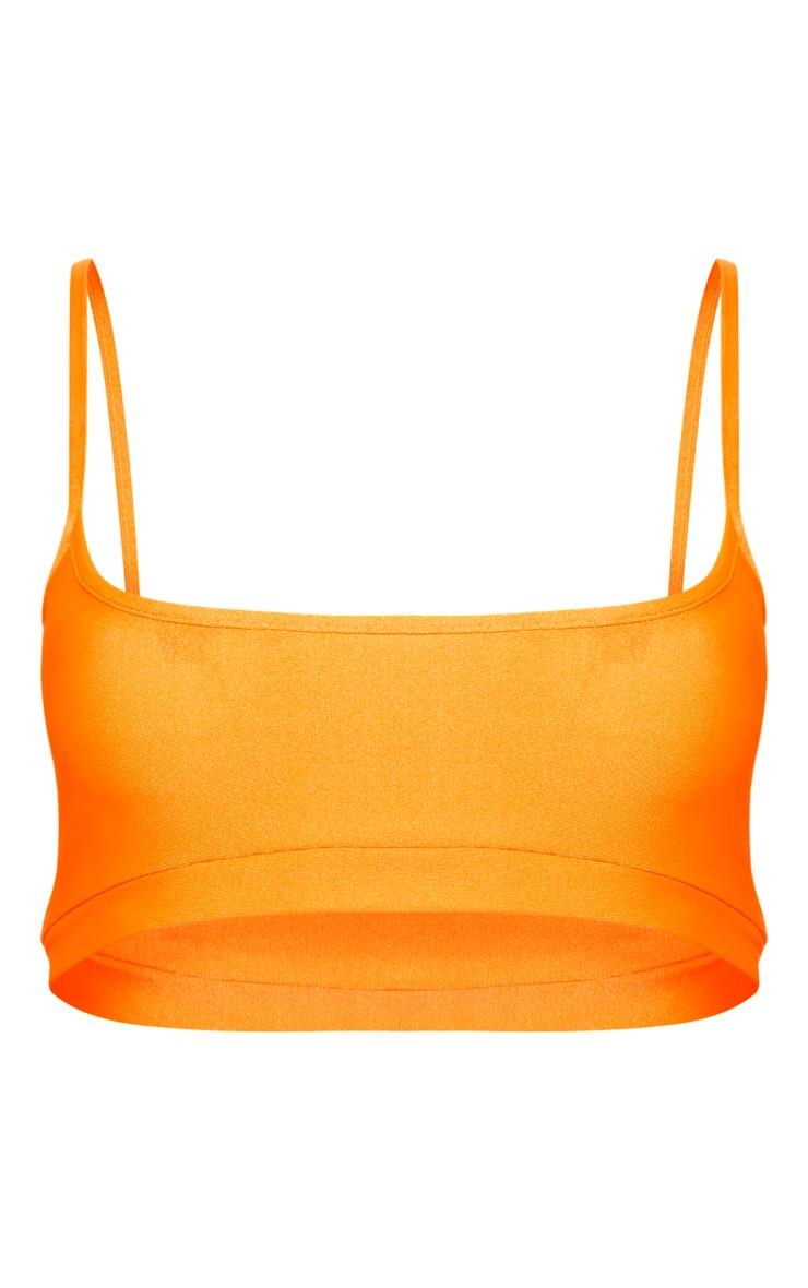 Orange Elasticated Scoop Neck Bikini Top 3