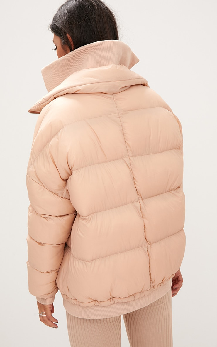 Nude Oversized Puffer Jacket with Zip Pockets 2